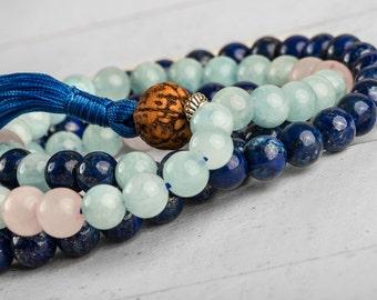 108 Mala Beads, Aquamarine Mala, Meditation Necklace, Tassel Necklace, Meditation Beads, Buddhist Rosary