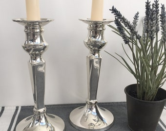 Pair of Silver Plated Candle Holders with Round Base , Item No. 1170