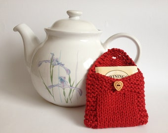 Tea Bag Cozy Pouch Wallet, Sugar Packet Tote Holder, Tea Lovers, Handknit Cotton Red Cosy Wooden Heart Button, Mother's Day Gifts Under 10