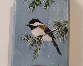 The Chickadee Bird/Painted sleigh/Black Capped Chickadee/Hand painted in acrylic by Sylvia Dumais