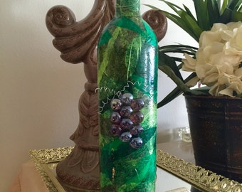 Decoupage Wine Bottle with Glass Grapes