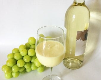 Chardonnay Candle/ wine glass/ natural Soy wax Candle/ Unique Hostess Gift/ refillable/ zero waste/ Mother's Day Gift