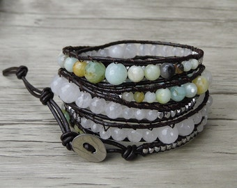 Gemstone wrap bracelet 4mm faceted amazonite & white jade bead bracelet boho leather wrap bracelet bohemian bracelet yoga bracelet SL-0272