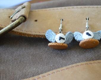 Winged Steampunk Top Hat Earrings