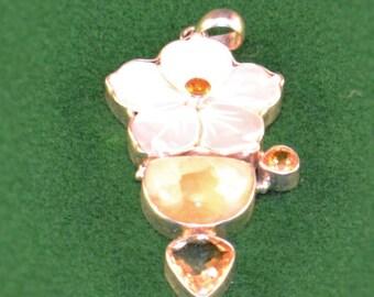 925 Silver, Mother of Pearl Flower w/Citrine and Lemon Quartz Pendant
