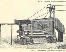 1894 Antique Threshing Machine Engraving Double Sided German Lithograph Original