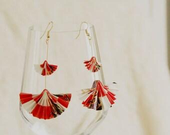 Origami fan earrings