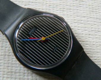 Vintage 80s Ladies Swatch Watch / Miss Channel - Miss Pinstripe LA100 1984 / Black Charcoal Gray / Excellent Condition