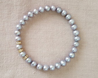 Gray Pearl stretch bracelet, Crystal spacer beads