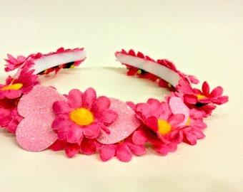 Rave Wear, Daisy Crown, Flower Headband, Music Festival, Valentines Day, Prom Headdress, Pink Dress, Heart Hairpiece, Dance Accessory