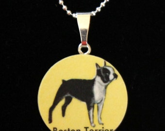 Boston Terrier Handmade Vintage Recycled Map Pendant Necklace