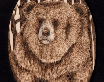 Woodburned Grizzly Bear