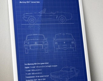 Mustang blueprint etsy mustang 1964 12 convertible vertical blueprint poster black and white malvernweather Image collections
