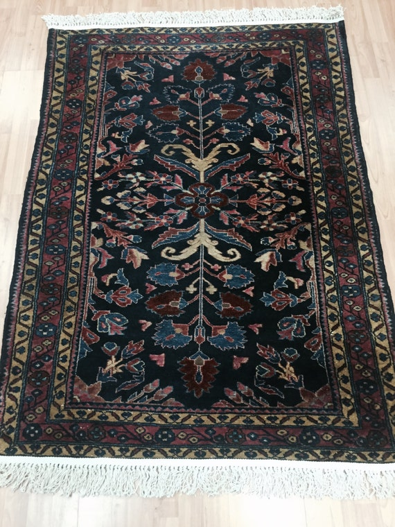 "3'8"" x 5'2"" Antique Persian Lilihan Sarouk Oriental Rug - 1920s - Hand Made - 100% Wool"