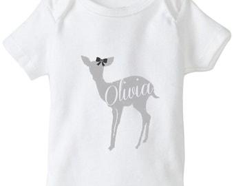 Personalized baby shirt/ Little Girls shirt - Deer Shirt - Doe Shirt