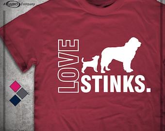 LOVE STINKS Tee - Valentine's Day Gift Shirt - Dog Sniffing T-Shirt ID 25