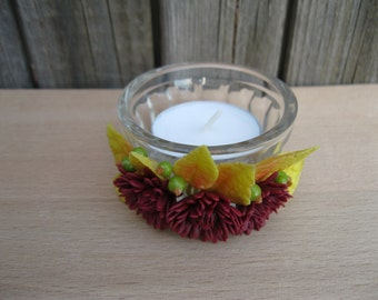 Candle gift Autumn Candle décor Candle holder centerpiece Candle holder glass Flower candle holder Fall candle holder Candle centerpiece