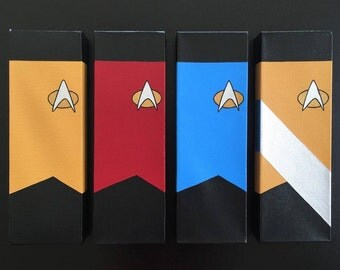 Star Trek TNG Canvas Paintings Set (4; Red, Yellow, Blue, Worf)