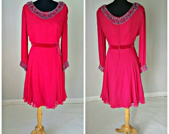 1960s Beaded Silk Chiffon and Velvet  Crimson Red Party Dress by B. Siegel Co.