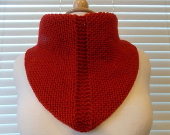 Hand Knitted Bandana Neck Scarf, Red Knitted Neckerchief, Knitted Wool Bandana Scarf, Triangle Scarf,