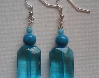 Turquoise Blue Jewel Drop Earrings
