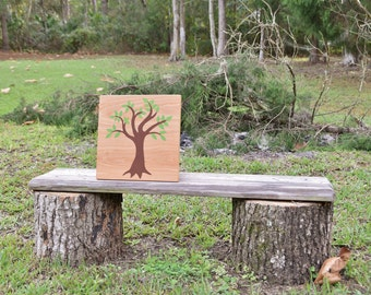 Baby's Room Art, Nursery Decor Painting. Nature Lover, Forest, Woodland Theme. Solid Wood, Hand Painted 1-sided sign - Simple Oak Tree