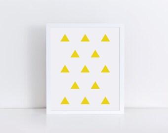 TRIANGLE Art, Triangle Print, Yellow Wall Art, Geometric Art, Modern Art Print, Printable Art, Triangles Poster Print, Minimalist Art
