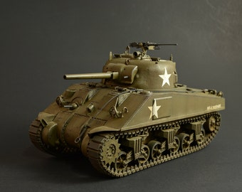 1/35 U.S. Army M4 Sherman WWII Tank - Handmade/Collectible Scale Model