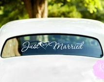 Just Married Heart And Initials Wedding Car Window Decal Multiple Styles Wedding Decoration Wedding Gift Wedding Decal