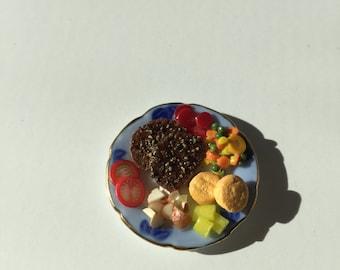 Miniature Dollhouse Pepper Steak Dinner on Plate