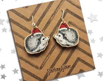 Festive Hedgehog Earrings, ideal as a gift for friend, girlfriend, daughter for the holiday period. Wooden charms with Sterling Silver hooks