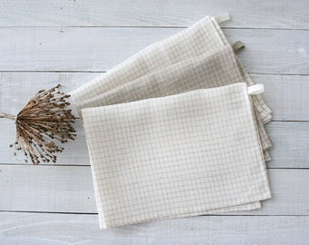 Set of 3 linen tea towels. Linen kitchen towels. Linen hand towels. Linen towels. Linen dish towels. White, grey (taupe). Flax towels.