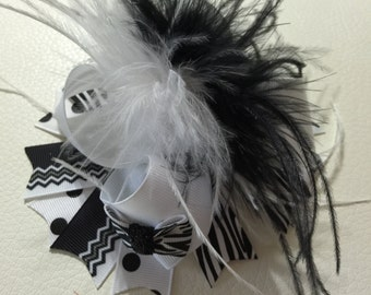 Black and White Over The Top Hair Bow, Baby Headband , Over The Top Hair Bows ,Girls Hair Bow ,Over The Top Baby Bow