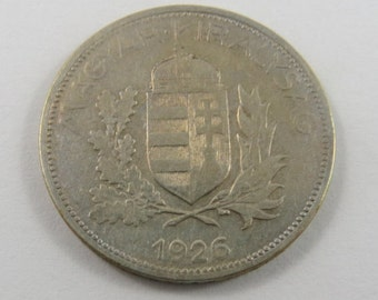 Hungary 1926 BP Silver One Pengo Coin.