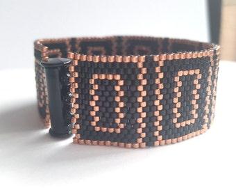 Black Bracelet - Black Cuff - Beaded Bracelet - Beaded Cuff - Peyote Bracelet - Black Peyote Bracelet - Copper Bracelet - Black Bracelet