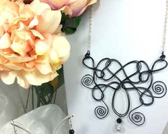 Black wire necklace with onyx and crystals. Handmade. Silver plated chain. Necklace & earrings set.