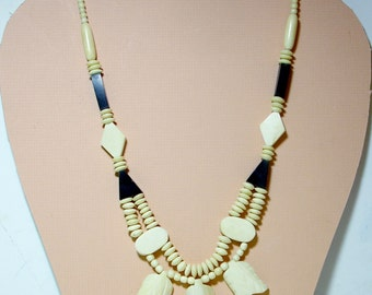 A Magnificant Hand Carved Bone Necklace in Black and White- 25 Inches-Handcrafted in the Pacific Islands 1980s