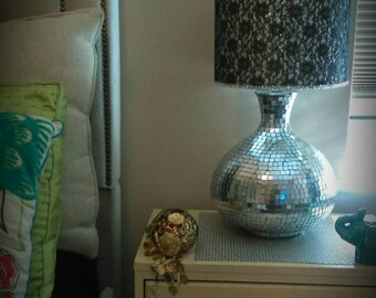 SALE Sequin lamp: Black lace drum lamp shade with a silver sequin/rhinestones