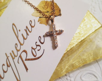 Crystal & Gold Cross Necklace