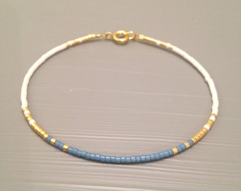Delicate Thin Bracelet Something Blue Bracelet Blue Gold Wedding Bridesmaid Bracelets