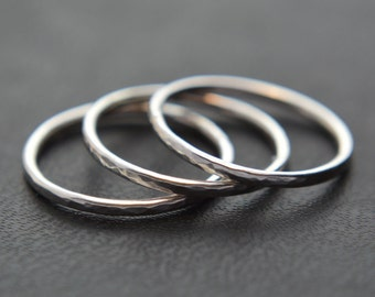 Stacking Ring Set of Three, Hammered Stacking Rings, Sterling Silver, Knuckle Rings, Pinkie Rings, 925 Sterling Silver