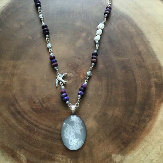 items similar to purple necklace floral necklace grey
