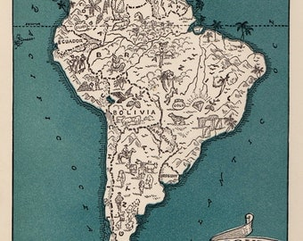 Whimsical SOUTH AMERICA Map of South America Print 1940s Map Travel Map Gallery Wall Art Gift for Boyfriend Birthday Gift