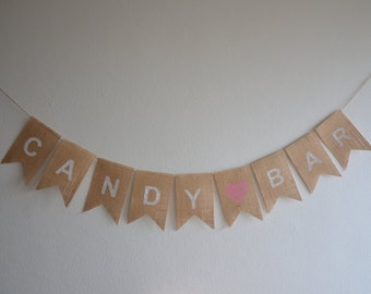 Rustic Wedding Burlap Banner - CANDY BAR - Lolly Buffet Sign
