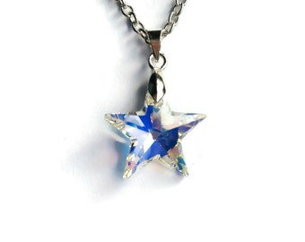 Swarovski Star Necklace, Crystal Star Pendant, Crystal Aurore Boreale Star Jewelry, Swarovski Crystal Jewelry, 20mm Star, Silver Plated