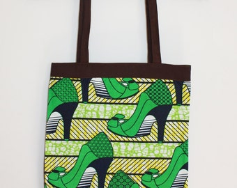 Green cotton tote bags, ground heels tote bag.