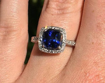 Sapphire Ring, Blue Sapphire Diamond Ring, Art Deco Sapphire Engagement Ring, Unique Engagement Ring, Vintage Sapphire Engagement RIng
