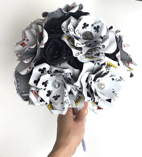 Large Poker Playing Card Flower Bouquet, Bridal Bouquet, Vegas Wedding, Glass Beads, Rhinestone Bling, Black Paper Roses, Paper Flowers
