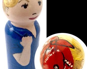 "One 3.5"" Custom Painted Wooden Doll - Custom Peg Portrait - Personalized Peg Doll - Peg Doll Lookalike - High Detail"