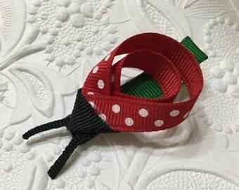 Ladybug Ribbon Sculpture Hair Clip (RS-12). Ladybug Hair Clip,Ladybug Clip,Girls clip, Girls Hair Clip
